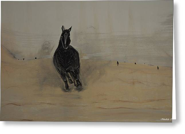 Dust Pastels Greeting Cards - Black Horse Greeting Card by Abdullah Alfaraj