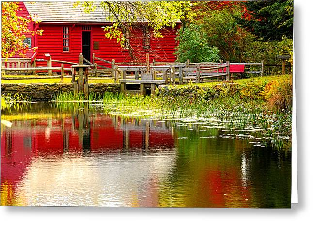Old Mill Scenes Paintings Greeting Cards - Back In Time - Gilbert Stuart Museum Greeting Card by Lourry Legarde