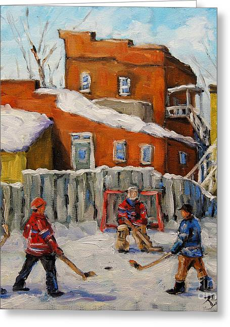 Goalie Paintings Greeting Cards - Back Lane Hockey created by Prankearts Greeting Card by Richard T Pranke