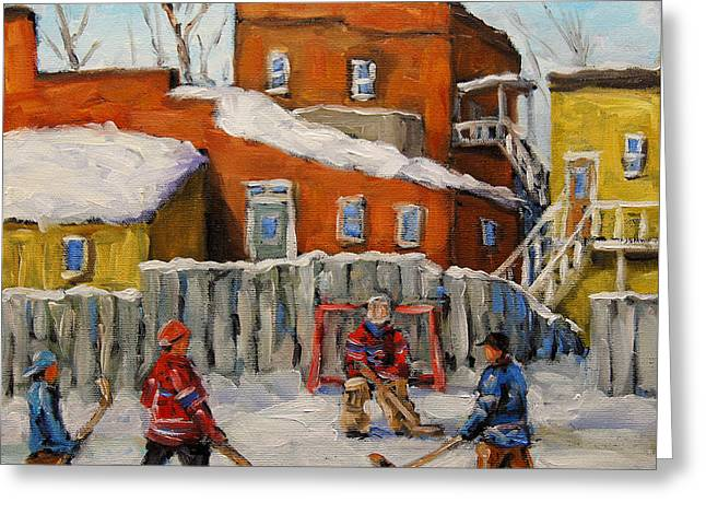 Kids Sports Paintings Greeting Cards - Back Lane Hockey created by Prankearts Greeting Card by Richard T Pranke