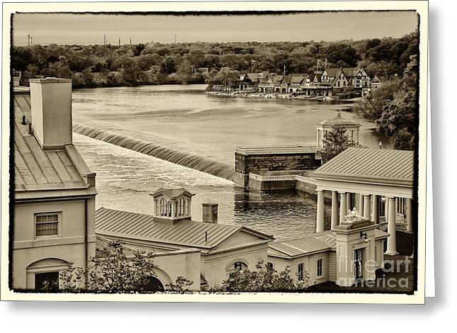 Boat House Row Greeting Cards - Back of Water Works Greeting Card by Jack Paolini