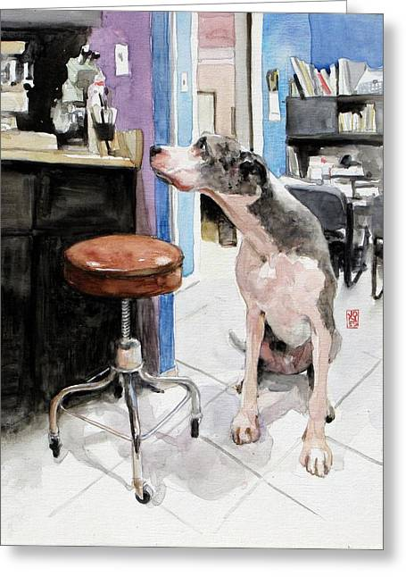 Pet Greeting Cards - Back Office Greeting Card by Debra Jones