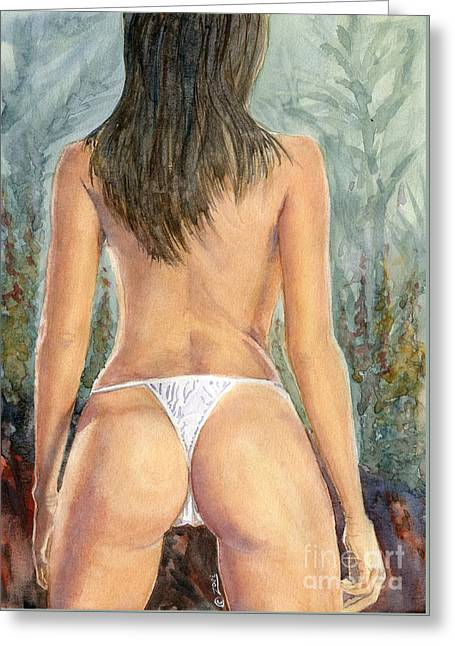 Feminity Greeting Cards - Back Posed Greeting Card by Zoei Fine Art