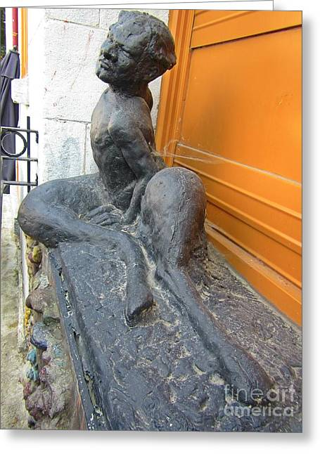 Humor Sculptures Greeting Cards - Back Problems for a Satyr Greeting Card by John Malone