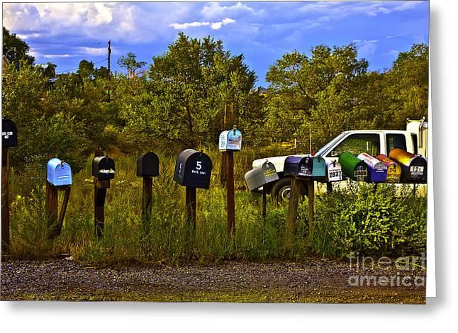 Backroads Digital Greeting Cards - Back Road Mailboxes Greeting Card by Madeline Ellis