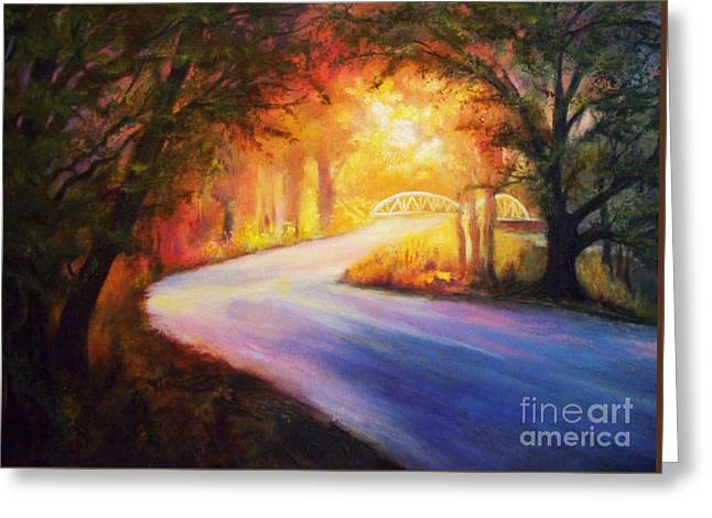 Paradise Road Paintings Greeting Cards - Back Road To Paradise Greeting Card by Karen Kennedy Chatham