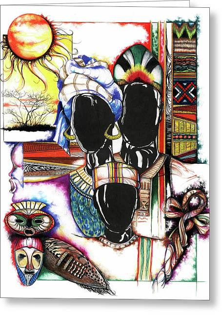 Black ist Drawings Greeting Cards - Back to Basic Greeting Card by Anthony Burks Sr