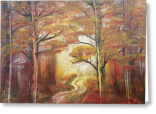 Gravel Road Paintings Greeting Cards - Back Woods Greeting Card by Paul Torres