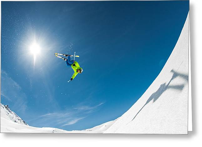 Backcountry Backflip Greeting Card by Eric Verbiest