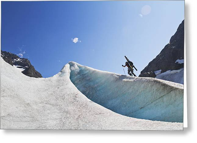 Southcentral Alaska Greeting Cards - Backcountry Skier Above The Eklutna Greeting Card by Joe Stock