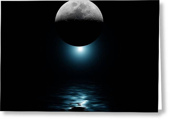 Science Greeting Cards - Backlit moon and blue star over water Greeting Card by Simon Bratt Photography LRPS