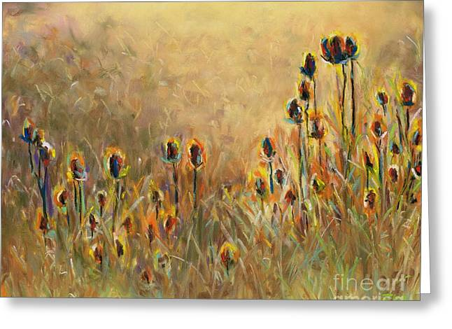 Backlit Pastels Greeting Cards - Backlit Thistle Greeting Card by Frances Marino