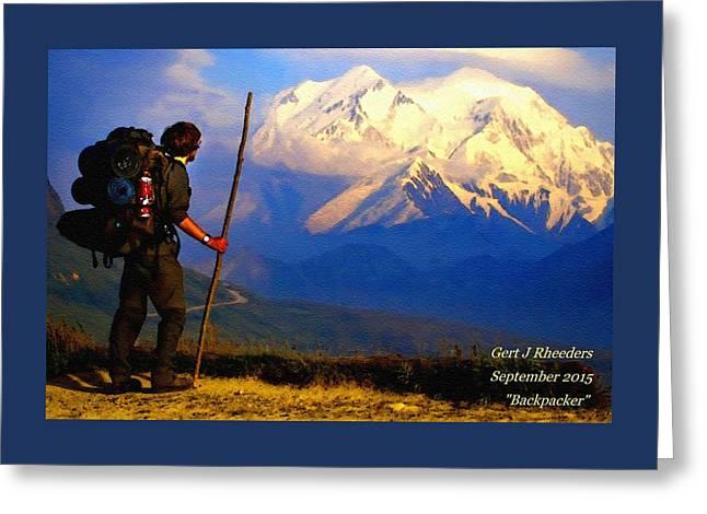 Snow Tree Prints Greeting Cards - Backpacker H A Greeting Card by Gert J Rheeders