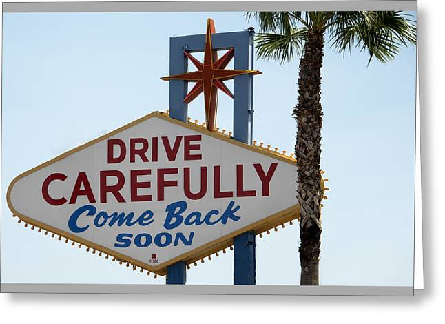 Ceasars Palace Greeting Cards - Backside of Welcome To Las Vegas sign - Las Vegas Nevada Greeting Card by Jon Berghoff