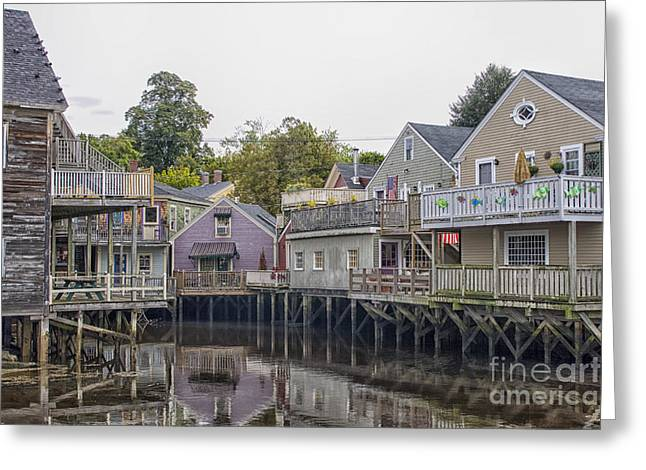 Kennebunkport Greeting Cards - Backside of wooden houses over water Greeting Card by Patricia Hofmeester