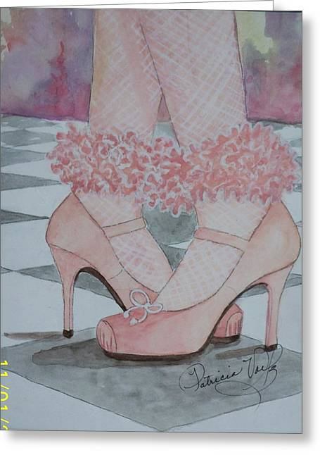 High Heeled Tapestries - Textiles Greeting Cards - backward and in High Heels Greeting Card by Patricia Voelz