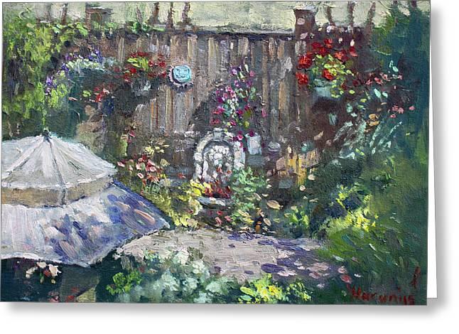 Tending Greeting Cards - Backyard Flowers  Greeting Card by Ylli Haruni
