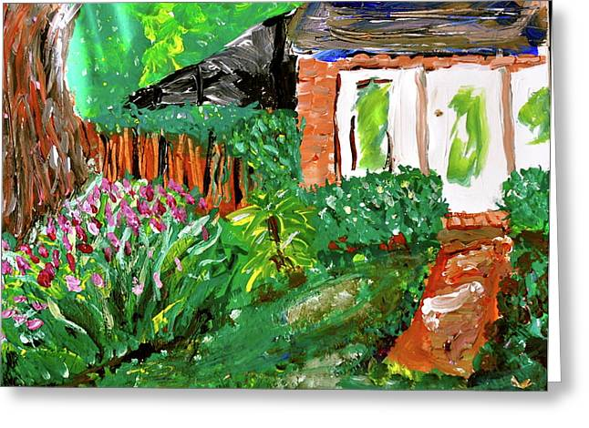 Screened Porchs Paintings Greeting Cards - Backyard Greeting Card by Laura Ogrodnik