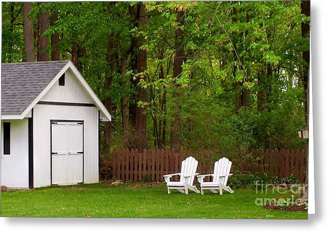 Outbuildings Greeting Cards - Backyard Oasis Greeting Card by Nature