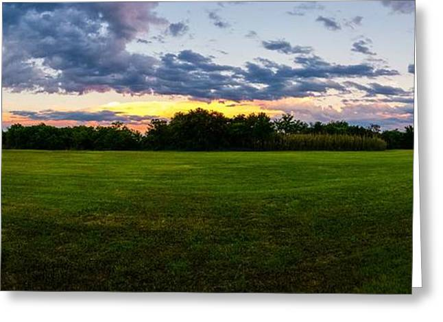 Twinkle Greeting Cards - Backyard Pano Greeting Card by Warren Creech