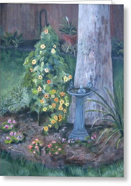 Etc. Paintings Greeting Cards - Backyard Greeting Card by Paula Pagliughi