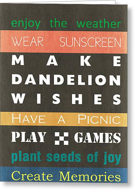 Backyard Rules Greeting Card by Linda Woods