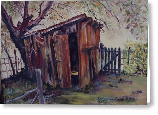Shed Paintings Greeting Cards - Backyard Shed Greeting Card by Charme Curtin