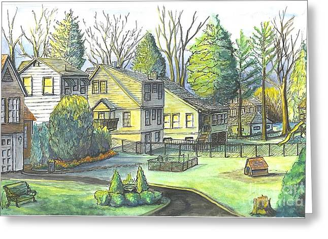 Pen And Ink Drawing Greeting Cards - Hometown Backyard View Greeting Card by Carol Wisniewski
