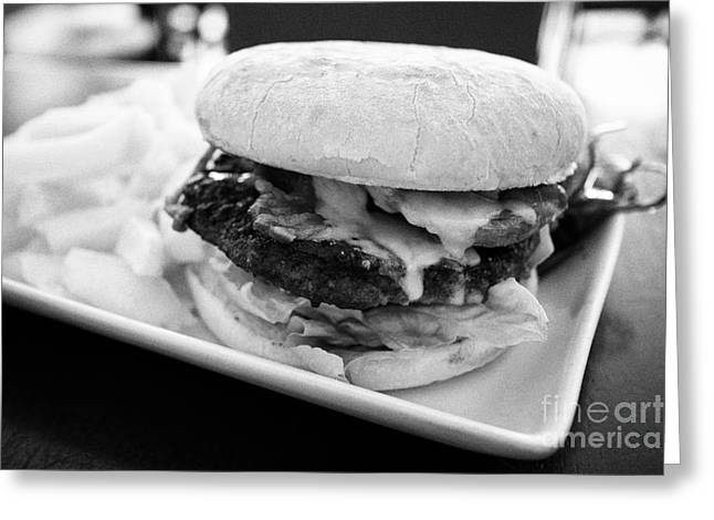 Hamburger Greeting Cards - Bacon And Cheese Burger With Fries In A Gastropub Greeting Card by Joe Fox