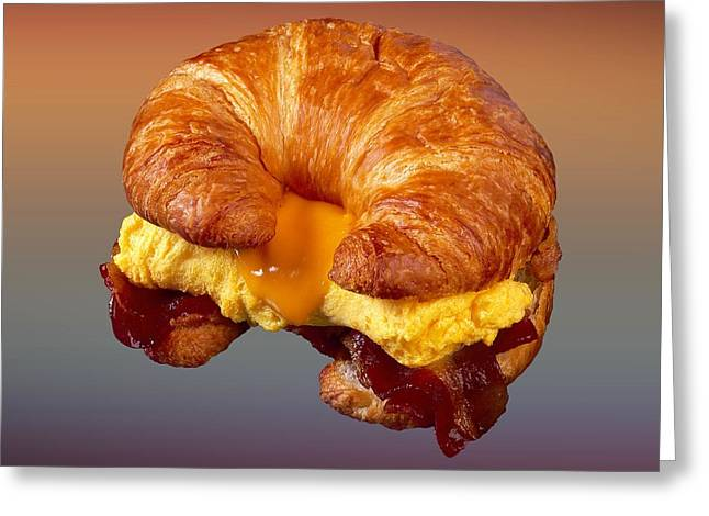 Cheeses Drawings Greeting Cards - Bacon Egg Cheese Croissant  Greeting Card by Movie Poster Prints