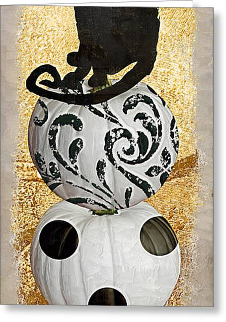 Hallows Greeting Cards - Bad Cat Halloween Greeting Card by Mindy Sommers