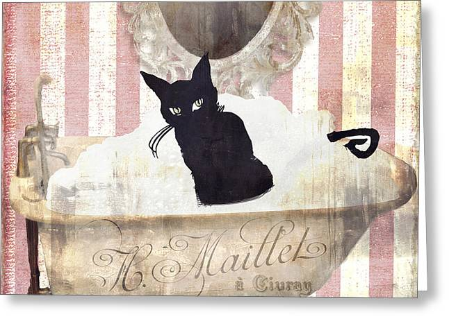 Paris Black Cats Greeting Cards - Bad Cat I Greeting Card by Mindy Sommers