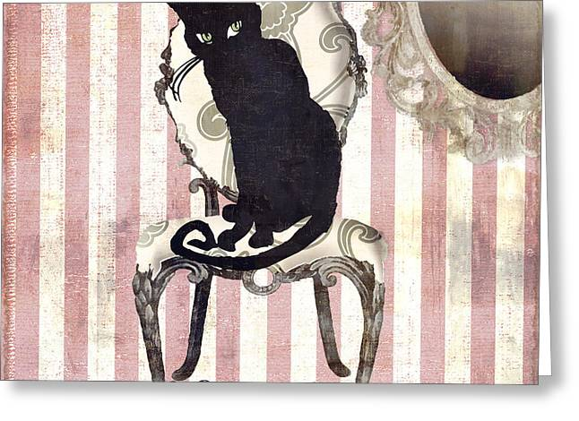 Paris Black Cats Greeting Cards - Bad Cat II Greeting Card by Mindy Sommers