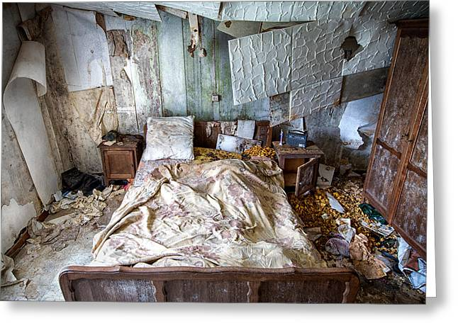 Ghost House Greeting Cards - Bad dream bedroom - abandoned house  Greeting Card by Dirk Ercken