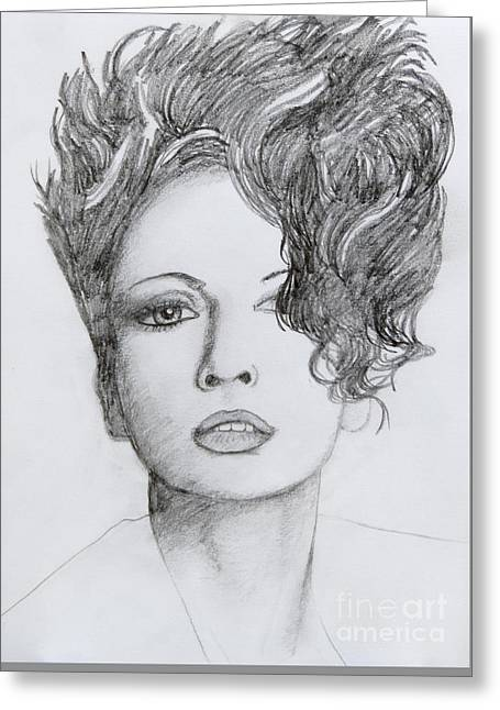 First-lady Drawings Greeting Cards - Bad hair brain Greeting Card by Stephen Brooks