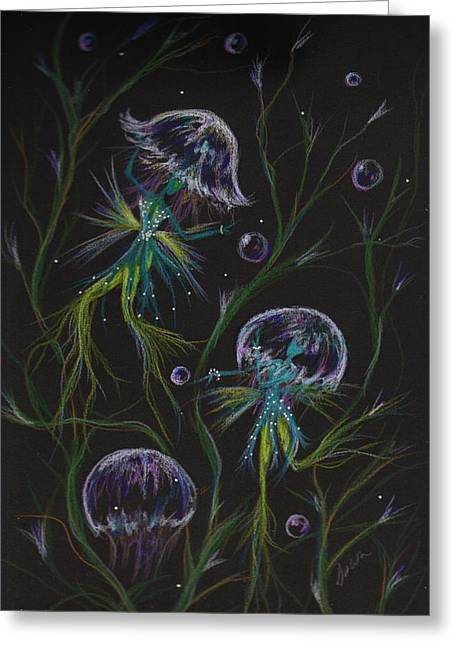 Jelly Fish Drawings Greeting Cards - Bad Hair Day Solutions Greeting Card by Dawn Fairies