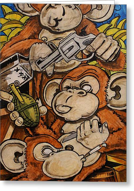 Acrylic Ink Greeting Cards - Bad Monkeys Greeting Card by Joshua Dixon