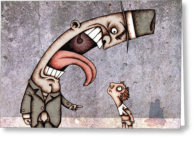 Children Greeting Cards - Bad Rich Man Greeting Card by Autogiro Illustration