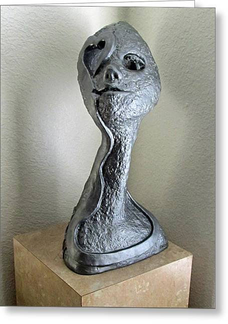Face Sculptures Greeting Cards - Bad Romance Greeting Card by Dedo Cristina