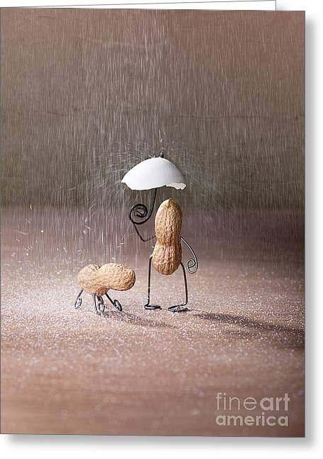 Dog Walking Greeting Cards - Bad Weather 02 Greeting Card by Nailia Schwarz