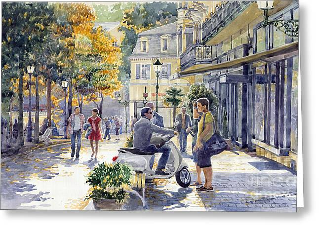 Streetscape Paintings Greeting Cards - Baden-Baden Sophienstr Last Warm Day Greeting Card by Yuriy  Shevchuk