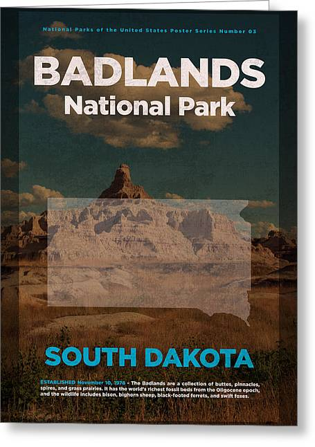 Badlands National Park In South Dakota Travel Poster Series Of National Parks Number 03 Greeting Card by Design Turnpike