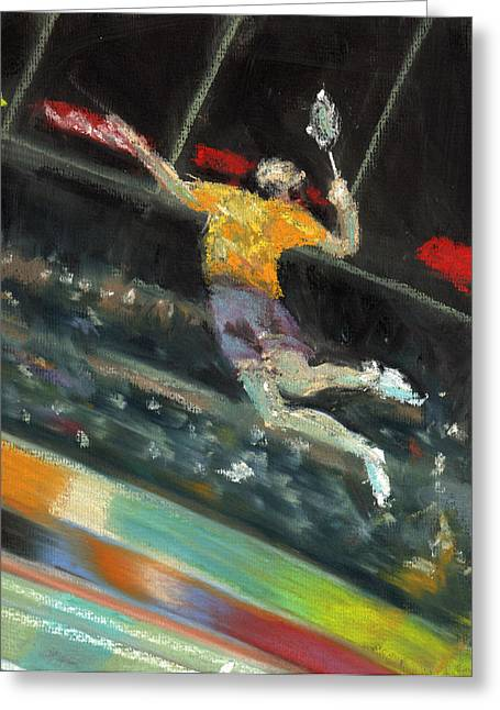Olympics Pastels Greeting Cards - Badminton Player Greeting Card by Paul Mitchell