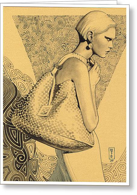 Pen And Ink Drawing Greeting Cards - Bag lady Greeting Card by Murray Smoker