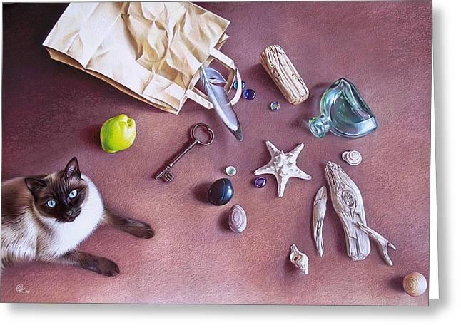Bag Of Treasures Greeting Card by Elena Kolotusha