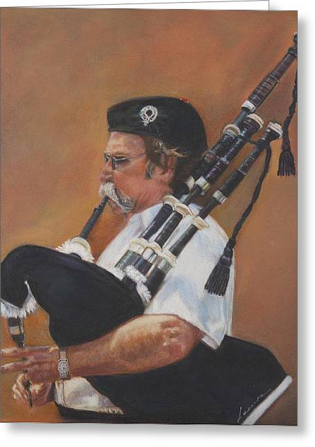 4th Pastels Greeting Cards - Bag pipe Greeting Card by Leonor Thornton