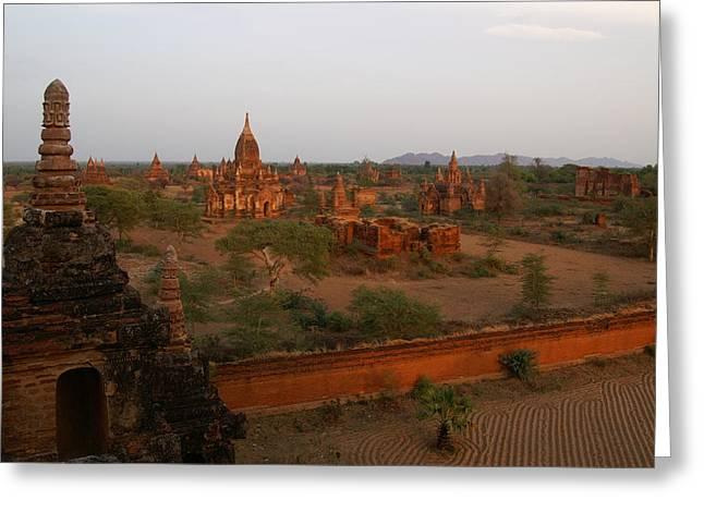 Bagan Greeting Cards - Bagan at sunset Greeting Card by Jessica Rose