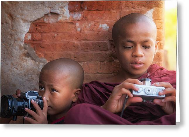 Poor Education Greeting Cards - Bagan monk boy Greeting Card by Anek Suwannaphoom