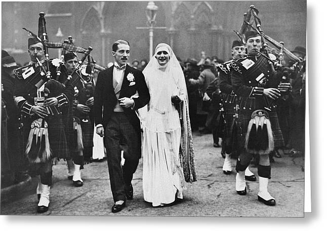 Couple In Arms Greeting Cards - Bagpipe Wedding Ceremony Greeting Card by Underwood Archives