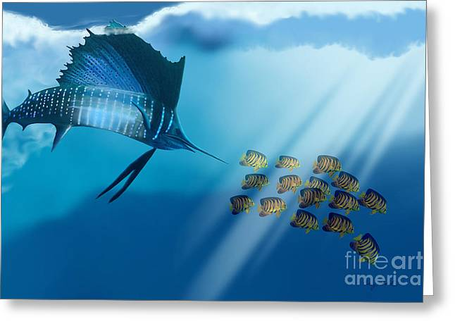 Swordfish Paintings Greeting Cards - Bahama Beauty Greeting Card by Corey Ford